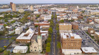 Aerial View over Portsmouth Virginia Across the Elizabeth River to Norfolk