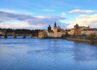Czech Republic Prague Charles Bridge and Vltava river view of the historical part of the clock tower old houses