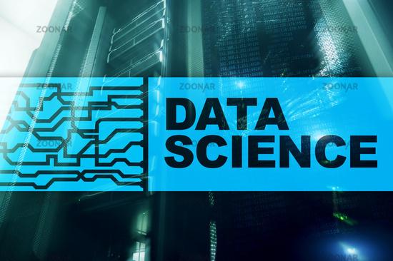 Data Science Artificial Intelligence Concept. Futuristic Supercomputer background.