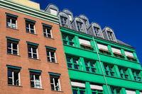 Bunte Hausfassaden in Berlin Mitte, Deutschland