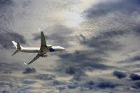 Passenger airplane Boeing 737-4H6 flying travel
