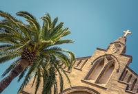 Spanish Church And Palm Tree