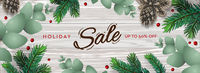 Merry Christmas and Happy New Year horizontal poster. Holiday template with branches eucalyptus, spruce branches and berries on wooden background. Winter background, vector illustration.