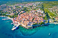 Idyllic Adriatic island town of Krk aerial view,