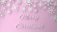 Modern Christmas background with snowflakes on pink
