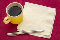 napkin with espresso coffee