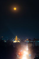 Full Moon over Boudhanath stupa at night, Nepal