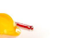 yellow helmet with plier