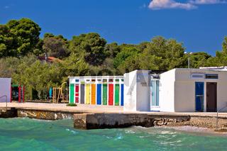 Jadrija beach and colorful cabins view
