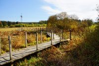 Footbridge through moorland
