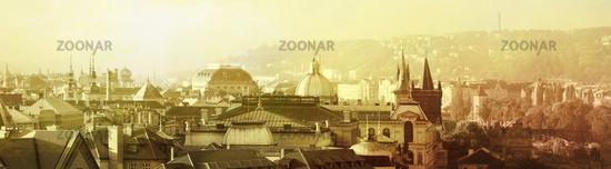 good morning in prague, panorama, golden