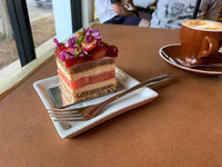 Strawberry and watermelon layer cake with cappuccino
