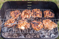 Grilling chicken. Chicken steak on the grill.Cooking chicken on the barbeque with charcoal in garden