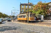 Portuguese retro tram in Porto, Portugal.