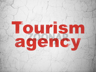 Vacation concept: Tourism Agency on wall background
