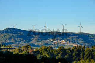 Windfarm on Top of the Hill at Tuscany