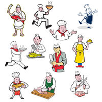 Food Worker Cartoon Set