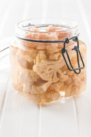 Pickled cauliflower in jar.