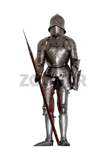 Medieval knight's armor isolated on white background