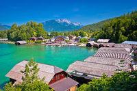 Konigssee Alpine lake wooden village coastline view