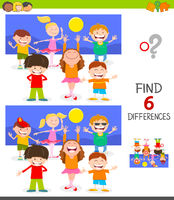 finding differences game with happy children
