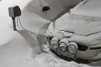 Snow covered cars, Gellivare, Lapland, Sweden