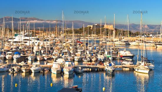 Antibes waterfront and Port Vauban harbor panoramic view