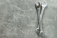 Chrome vanadium spanners. Metallic wrench.