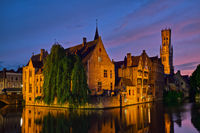Famous view of Bruges, Belgium