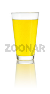 Glass filled with an orange soft drink