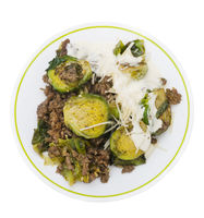 Brussels sprouts and beef on white background