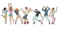 collection set. young people dancing. men women boys girls