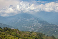 White clouds over Gangtok city, Sikkim, India