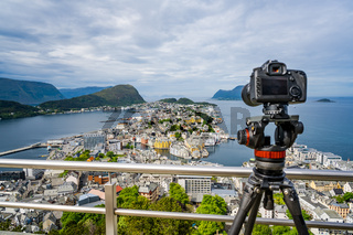 City of Alesund Norway Camera on a tripod on the observation deck.