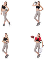 Young woman with football, rugby ball, boxing gloves and tennis