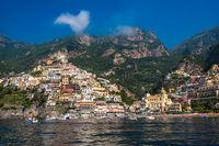 Panoramic view of Positano, small town on Amalfi Coast, Campania, Italy