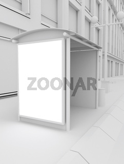3d white mock up on bus stop