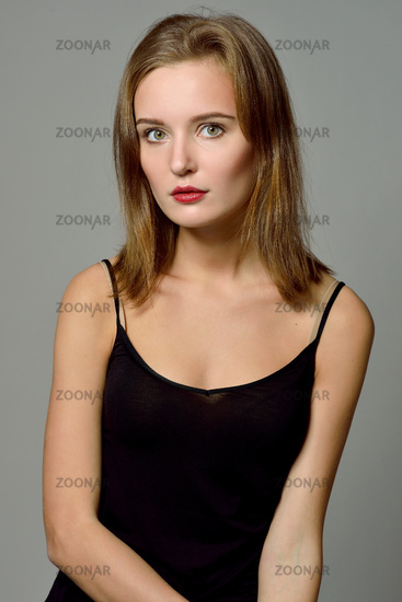 Emotion torso portrait of beautiful woman