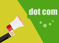 dot com. Flat design business concept Digital marketing business man holding megaphone for website and promotion banners