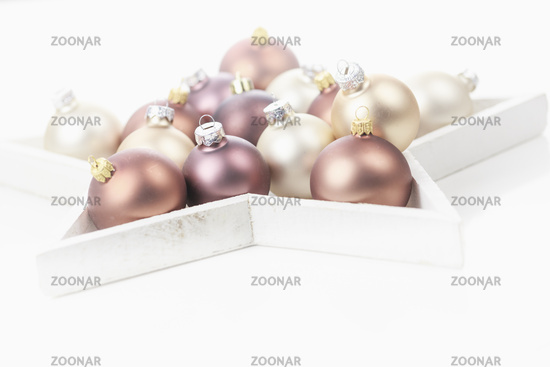 Brown, golden and bright Christmas baubles - a nice decoration for Christmas.