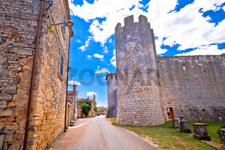 Village of Svetvincenat ancient square and stone landmarks view