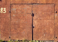 weathered rusty doors