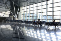 People waiting for their flight at Vnukovo Airport, Moscow