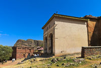 Entrance hall of the semi-monolithic church Abreha wa Atsbeha near Wukro, Tigray, Ethiopia