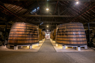 PORTO, PORTUGAL - June 19, 2018: Port wine barrels in Graham's port lodge, Vila Nova de Gaia, Porto, Portugal