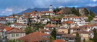 Hillside red tiled rooftops of houses in Ohrid