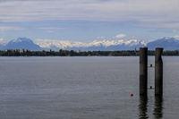 Lochau near Bregenz, view to the snow peaks of the Swiss Alps