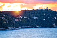 Cap Ferrat peninsula sunset view from Villefranche sur Mer