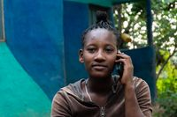 Ethiopian girl talking on the phone