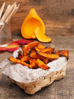 Tasty organic hokkaido pumpkin fries